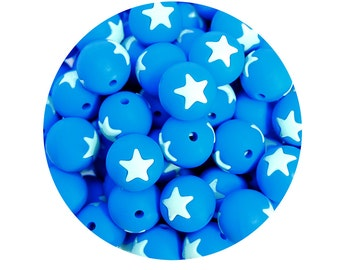 5 Silicone Beads, star silicone beads, 15mm round beads, teething jewelry beads, teething necklace, white & hot blue #294047