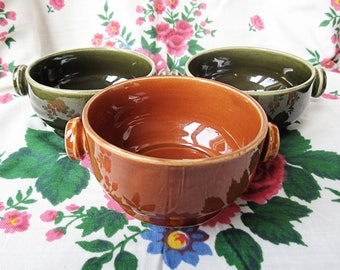 Rare Torgau Keramik Rusalka Soup Bowls, Set of 3 Double Handle Bowls, Brown and Green. East Germany GDR Vintage Pottery.