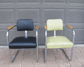 Pair Retro Chrome Armchairs Mid Century Modern Vinyl Arm Chair Black Yellow Upholstered MCM 1950s Chrome Dining Chairs Vintage