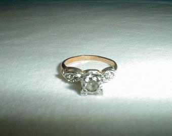vintage j.esposito engagement ring sz.4 crystal engagement ring two tone filigree ring espo ring gold plated ring sparkling bridal vtg
