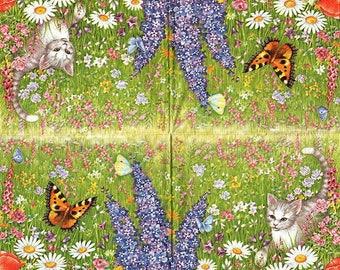 Cat in flowers 1 towel paper pattern 4 X 053