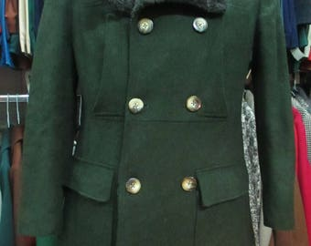 Giaccone loden anni 70.Doppiopetto.Pelo finto.Tg 46/Amazing 70s loden coat with faux fur collar/Doublebreasted/Inner faux fur lining/Size S