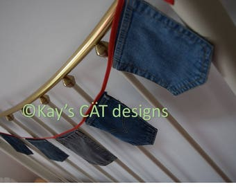 Upcycled denim jeans pocket bunting, storage bunting, student, teenager, double bed decoration, 4 colour options