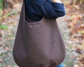 brown shoulder bag, hobo bag, slouch brown bag, large bag, canvas hobo, chocolate shoulder bag, walnut brown hobo bag, natural leather brown