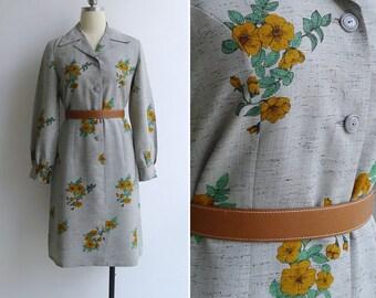 Vintage 70's 'Wallflower' Pale Green Floral Shirt Dress M or L