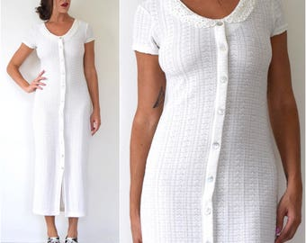 Vintage 90s Eggshell White Knit Faux Button Front Lace Collar Midi Dress (size small, medium)