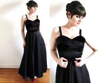 1950s Gown / 50s Dress / 50s Black Satin Velvet Party Dress Ball Gown