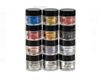 Pearl Ex Calligraphy ~ Jacquard Pigments, Set of 9 Metallic Pigments & 3 Gun Arabic Jars ~ Scrapbooking Supply, Card Making, Paper Crafting