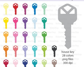 House Key Icon Digital Clipart in Rainbow Colors - Instant download PNG files