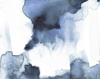 Original 5 x 5 inch watercolor abstract blue painting
