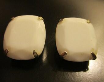 White Clip-on Earrings