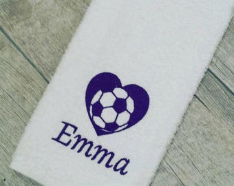 Personalized Soccer Heart Sweat Towel, Gym Towel, Personalized Towel, Sports Towel