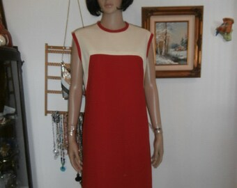 Womens  Sleeveless Dress Vintage 70s Mad Men Style Sheath Dress Polyester