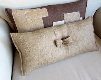 natural burlap lumbar style toss pillow with bow