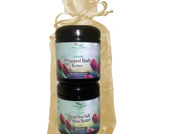 Organic Gift Set - Organic Dead Sea Salt Scrub and Whipped Body Butter Spa Gift Set Mothers Day