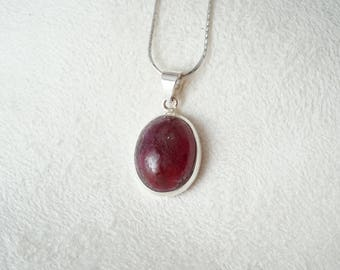 Natural Ruby Coundrum, Unprocessed stone, July Birthstone in Sterling Silver frame pendant
