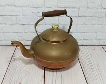 Vintage Tagus Copper and Brass Tea Pot With Wood Handle Made in Portugal