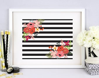 Black and White Wall Print, Black and White Stripes and Floral Home Wall Decoration, Wall Prints, Floral Wall Art, Floral Wall Print