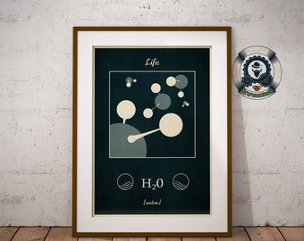 Ilustration original Molecule of water-Life - inspired Vintage fun science - Art graphics - Flat Design - size A5-A1, 20 x 30-50 x 70 > >