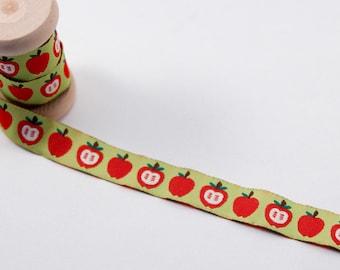 By The Metre -Apple Jacquard Ribbon -Colorful Fruit Woven Ribbon -Red Apples jacquard Ribbon -Green Childrens Ribbon -Cute Ribbon -kids trim