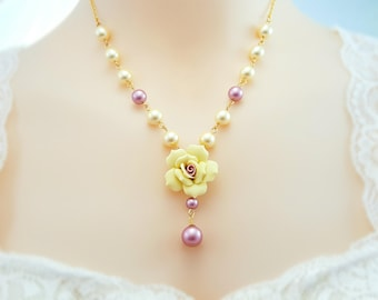 Pearl Victorian Necklace - Yellow Rose Necklace - Shell Pearl Necklace - Pearl Drop Necklace Gold - Rose Pearl Necklace Floral Bridal N4635