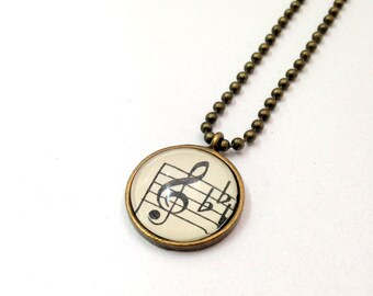 "NEW - Vintage Sheet Music G Clef -18"" Antique Bronze Plated Ball Chain- 18mm Glass Cabochon Pendant"