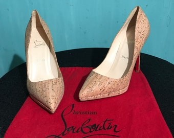 "Christian Louboutin 10.5-11 (41) new ""Pigalle plato"" cork stiletto platform pump"
