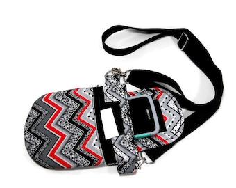 Zigzag design crossbody bag, Multi-color crossbody pouch,  passport travel purse, or small purse
