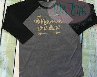 Mama Bear Raglan, mama bear shirt, momma bear shirt, baseball tee, Plus Size, Mothers Day, mom shirt, triblend, arrow shirt, mom to be, baby