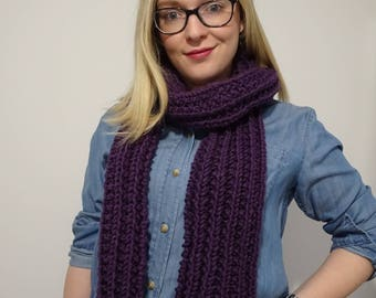 Purple Knit Long Scarf