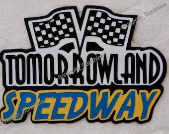 DISNEY Tomorrowland Speedway Die Cut Title Scrapbook Page Paper Piece - SSFF