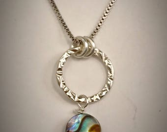 Small Sterling Stamped Circle With abalone