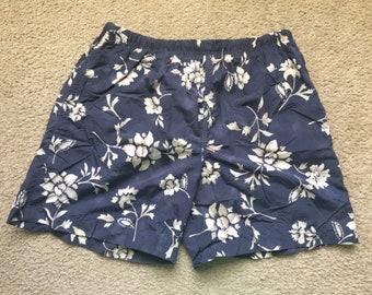 Men's Vintage 90s Nautica Floral Swim Trunks Size Large