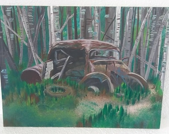 Acrylic painting, woods painting, retro car painting, apocalypse painting, dilapidated car art