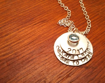 Personalized-graduating-class necklace-Hand stamped-Graduation gift-Graduation necklace-Class of 2018-Senior gift-Junior gift-Class necklace