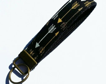 Wrist Lanyard - Key Lanyard - Key Fob - Fabric Key Ring -- Gold and Silver Arrows on Black // READY TO SHIP