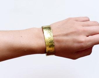 Patina or Shiny Brass Cuff - Minimal Wrist Couture, Bridesmaids Gift, gold cuff