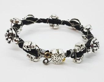 Guitar String Bracelet Unique Jewellery Skulls & Roses Handmade - Gothic Purple