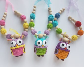 nursing necklace teething necklace baby teether baby teething toy breastfeeding necklace crochet beads toddler gift baby toy natural toy