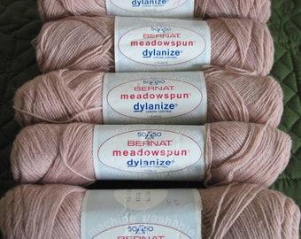 5 Vintage Skeins Bernat 50/50 Meadowspun Yarn Beige Each 50% Virgin Wool & Dupont Crimpset Nylon