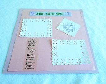 Wedding scrapbook, 12 x 12 premade page, hand stamped wedding bells, die cut, 1st Corinthians, unique wedding, engagement, or shower gift