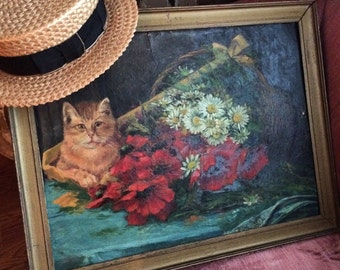 This Tabby Cat Got His Portrait With Daisies Antique Oil Painting