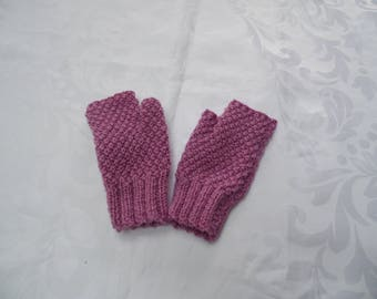 Fingerless gloves with thumb color purple for adult or teens