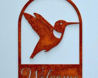 Hummingbird Welcome Sign | Rustic Farm Sign | Metal Wall Art | Front Door Sign | Garden Gifts for Mom | Bird Lovers Gift | Metal Bird |WE604