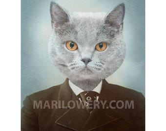 Cat in Suit Art, 8 x 10 Inch Print, Gray Cat Art, Animal in Clothes, Gift for Cat Lover, Animal Portrait, Brown and Blue Art, frighten