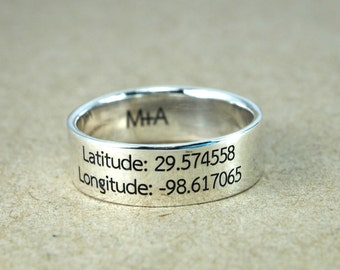 custom ring, Latitude Longitude Ring, Coordinate Ring, Location Ring, Custom Coordinates Ring, Latitude Ring, Dainty Ring, Custom Coordinate