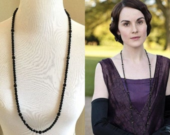 Lady Mary Crawley Downton Abbey Art Deco Swarovski Crystal Black Bead Long Gold Necklace