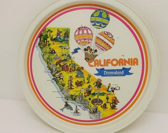 Disneyland California Metal Tray~California State Map~Disneyland Souvenir~Disneyland Serving Tray~Disney Characters~California Souvenir