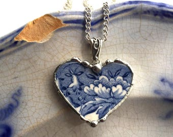 Dishfunctional Designs Broken china jewelry antique blue and white English transferware heart pendant necklace Dishfunctional Designs