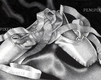 Ballet Shoes Pen & Ink Illustration Print